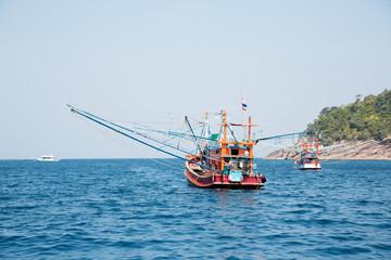 Fishing trawler off the island in the Andaman Sea, Thailand