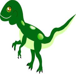 Green dinosaur cartoon isolated o white background