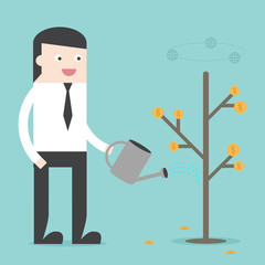 Plant money tree for passive income financial freedom. Flat design for business financial marketing banking advertising event concept cartoon illustration.