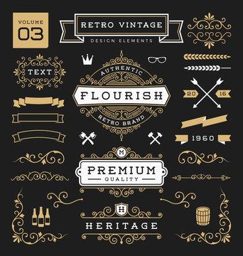 Set of retro vintage graphic design elements. Sign, frame labels, ribbons, logos symbols, crowns, flourishes line and ornaments. Vector illustration