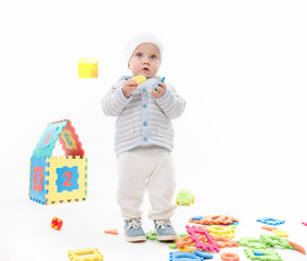 little child baby playing with puzzles