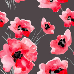 Watercolor flowers red poppy seamless pattern.