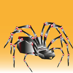 Spider big and bright Large and bright spider on a yellow background is made in the style of techno fantasy