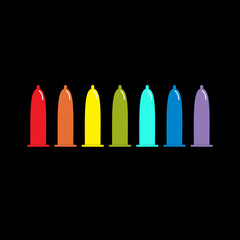Condom rainbow icon set. Protection. Black background. Flat design.
