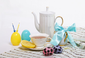 Easter still-life with cup of tea