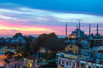 Istanbul Old City Morning View with street cafe and famous Blue Mosque