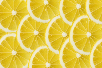 Close Up Sliced Yellow Lemon