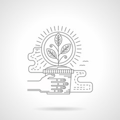 Seedling in pot detail line vector icon