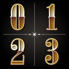 western gradient alphabet letters vintage numbers vector (0,1,2,