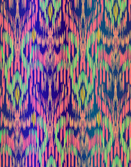 seamless vector ikat pattern. beauitiful ethnic ornament, textile tradition coloring technique. vertical stripes and brush strokes form a geometrical ornament.