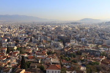 Athens view from Acropolis hill at the sunrise, Greece