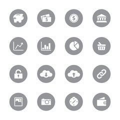 web icon set 4 on gray circle for web design, user interface (UI), infographic and mobile application (apps)