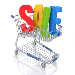 Shopping Cart with SALE text