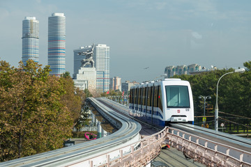 Moscow monorail fast train on railway, close-up