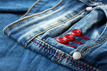 new fashionable blue jeans closeup photo