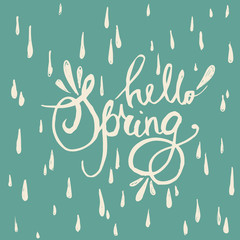 Hello spring lettering quote