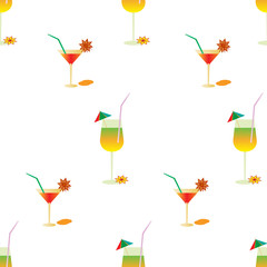 Summer pattern with cocktails