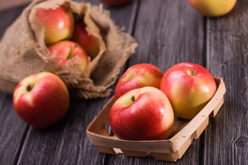 Apples in box and sack