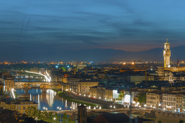 Fototapete - Florence city during sunset. Panoramic view to the river Arno