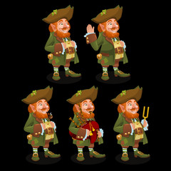Five traditional leprechauns with different items