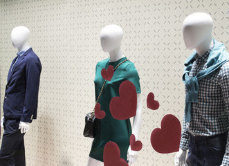 love triangle mannequins with clothing