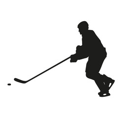 Ice hockey player vector silhouette, side view