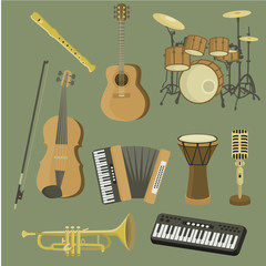 Musical instruments.Vector set. Music