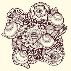Floral background with snails