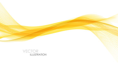 Poster Abstract wave Abstract orange waves - data stream concept. Vector illustration