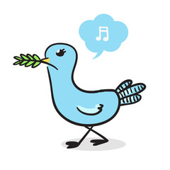 Blue  pigeon vector illustration