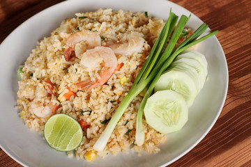 Fried rice recipe with shrimp, Asian cuisine.