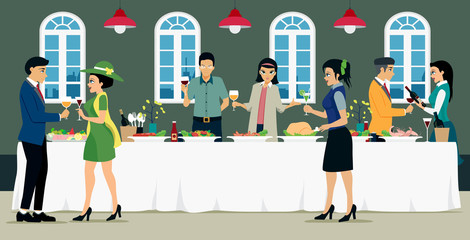 Banquet meals with men and women with food and wine.