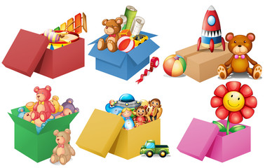 Six boxes of toys