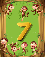 Number seven with 7 monkeys on the tree