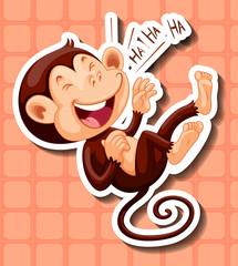 Monkey laughing on orange background