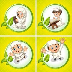 Muslim boy and girl praying