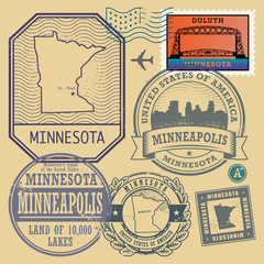 Stamp set with the name and map of Minnesota, United States