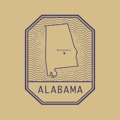 Stamp with the name and map of Alabama, United States