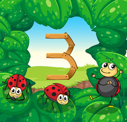Number three with three ladybugs smiling