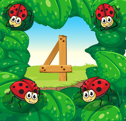 Number four with 4 ladybugs on leaves