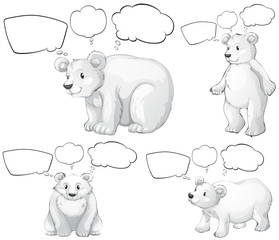 Polar bear and speech bubbles