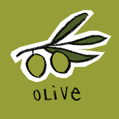 Olive branch on green background