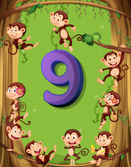 Number nine with 9 monkeys on the tree
