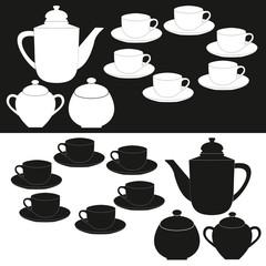 Tea cup and kettle. Tea time . Tea cup and pot label set .Silhou