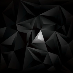 Black polygonal vector background. Dark low poly wallpaper with geometric triangles and white spot.