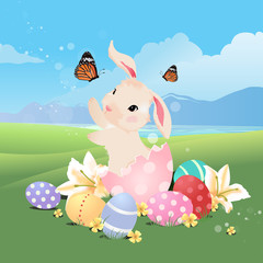 Bunny rabbit in the egg playing with butterfly for Easter.