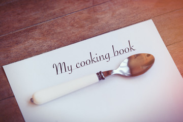 Paper with words Cooking book