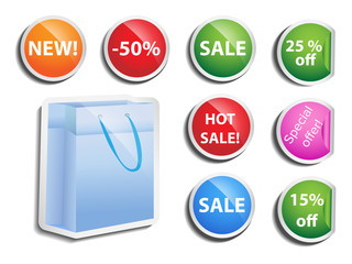 set of round vector colored labels with price