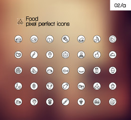Food vector pixel perfect thin line symbol icon set.