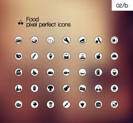 Food vector pixel perfect solid symbol icon set.